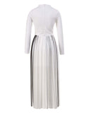 The Long Sleeve Pleated Maxi Dress
