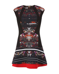 The Printed A-Line Lace Detail Dress