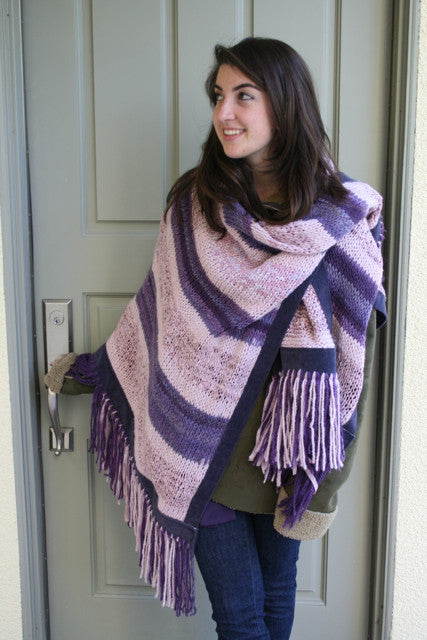 "Handknit Poncho with ""No-Animal""Suede Trim"
