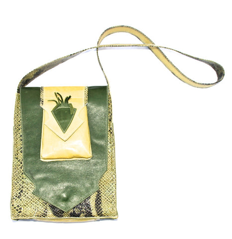 Small Green Snakeskin Print Shoulder Bag Purse