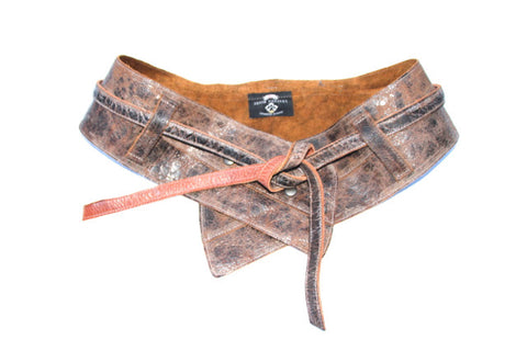 Double Tie Wide Leather Belt