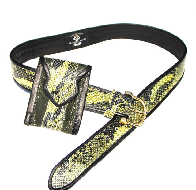 Green Snakeskin Print Wrapped Leather Belt with Small Matching Pouch