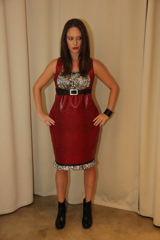 "Red ""no-animal"" Leather Dress"
