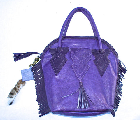 Hot Purple Textured Leather Fringed Handbag
