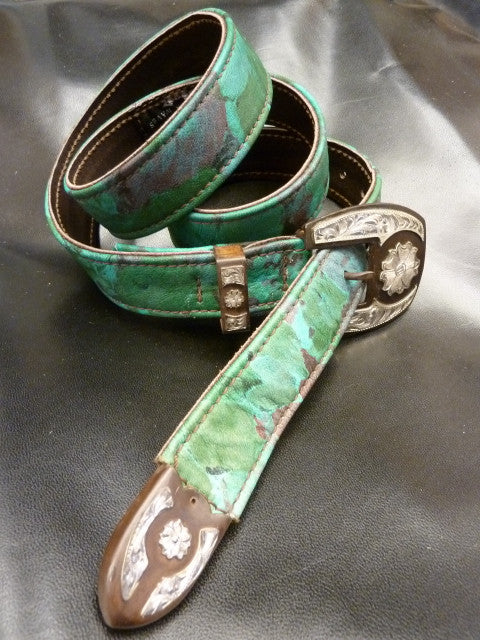 "Leaf-Print Leather 1.25"" Belt with ""one-of-a-kind"" Western 3-piece Buckle Set"