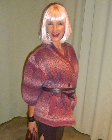 Hand Knit Boiled Wool Sweater with Twice Wrapped Ostrich Print Leather Belt