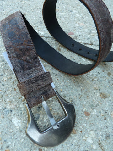 "1.5"" Wide Cut-Edge Leather Belt w/renaissance silver metal buckle"