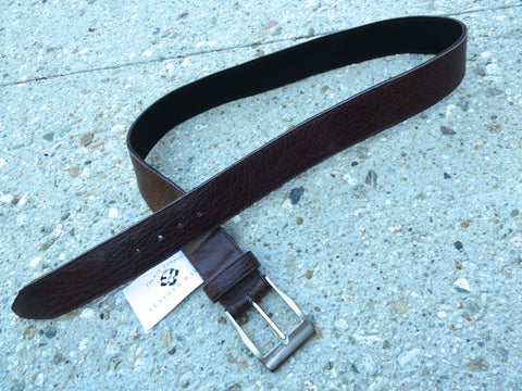 "Brown 1.75"" Wide Cut-Edge Leather Belt"