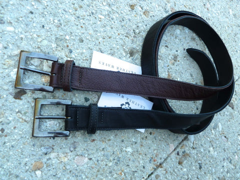 "1.25"" Wide Cut-Edge Leather Belt with Distressed Metal Buckle"