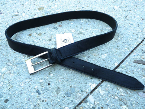 Black Leather cut-edge belt with rectangular buckle