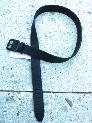 "1.5"" Wide Cut-Edge Leather Belt with Black Buckle"