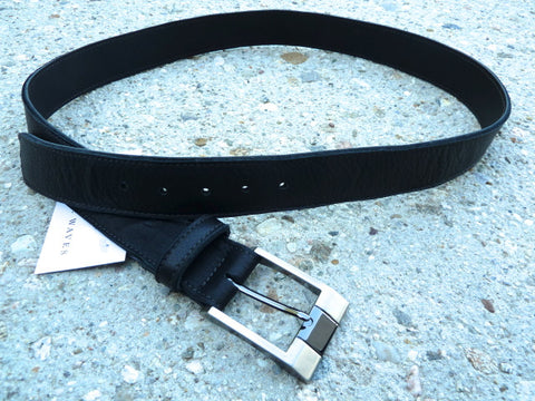 "Black 1.5"" Wide Cut-Edge Leather Belt"