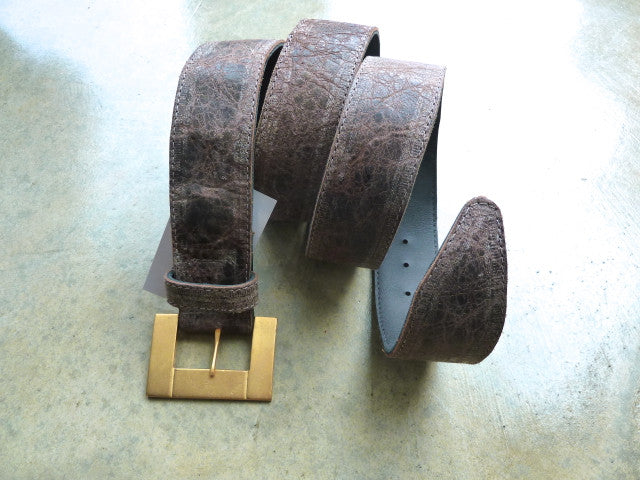 "Taupe 1.75"" Wide Cut-Edge Leather Belt w/unique Matte Gold Buckle"