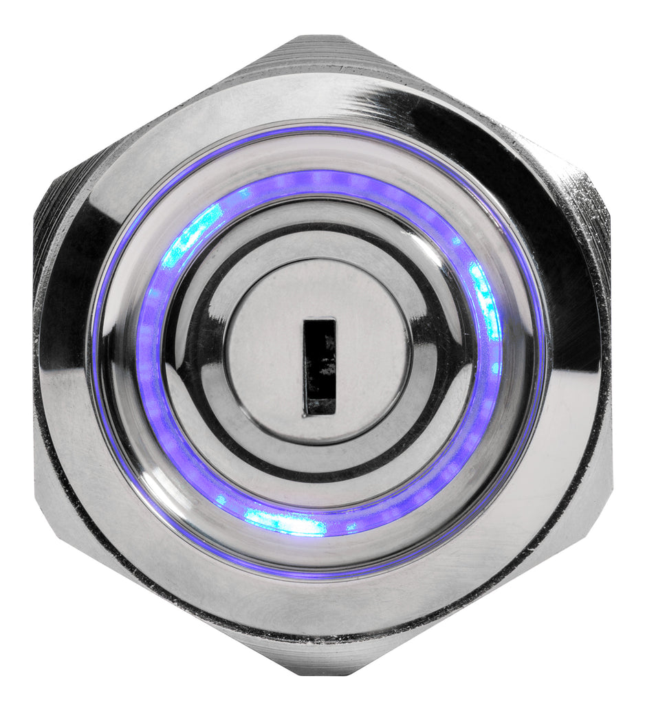 Stainless Key Lock Blue Illuminated 12 Volt Switch