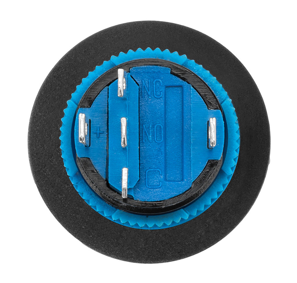 Blue Illuminated Momentary Push Button Silver Frame