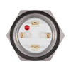 Silver Metal Stainless Steel Red LED Illuminated Momentary Button Switch 18mm