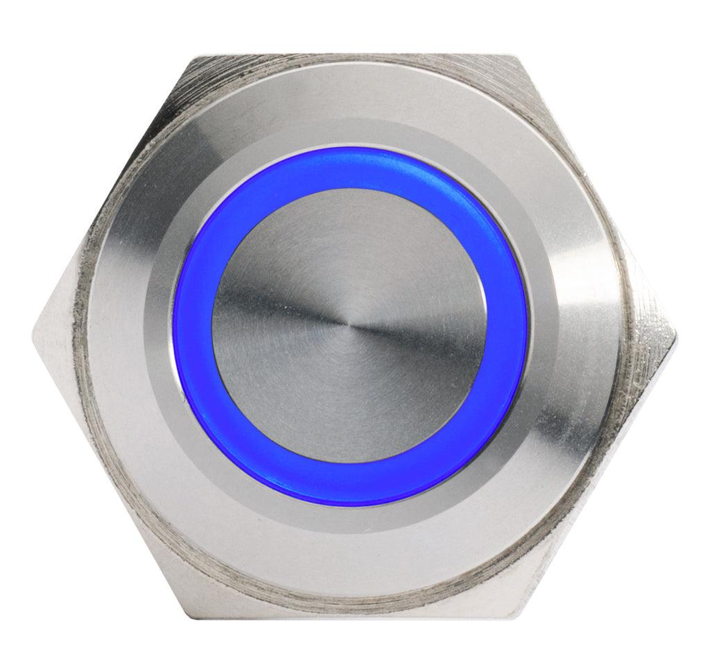 Silver Metal Stainless Steel Blue LED Illuminated Momentary Button Switch 16mm