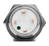 Silver Metal Stainless Steel Green LED Illuminated Momentary Button Switch 18mm