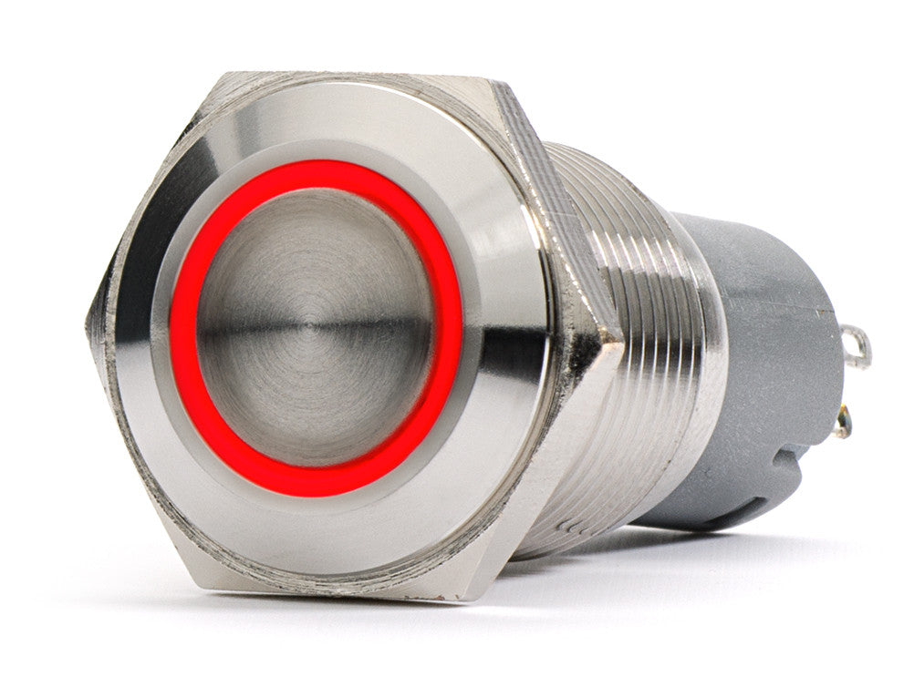 Silver Metal Stainless Steel Red LED Illuminated Latching Pushbutton Switch 18mm