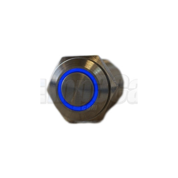 Silver Metal Stainless Steel Blue LED Illuminated Latching Button Switch 16mm
