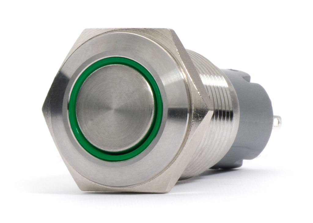 Silver Metal Stainless Steel Green LED Illuminated Latching Button Switch 16.5mm