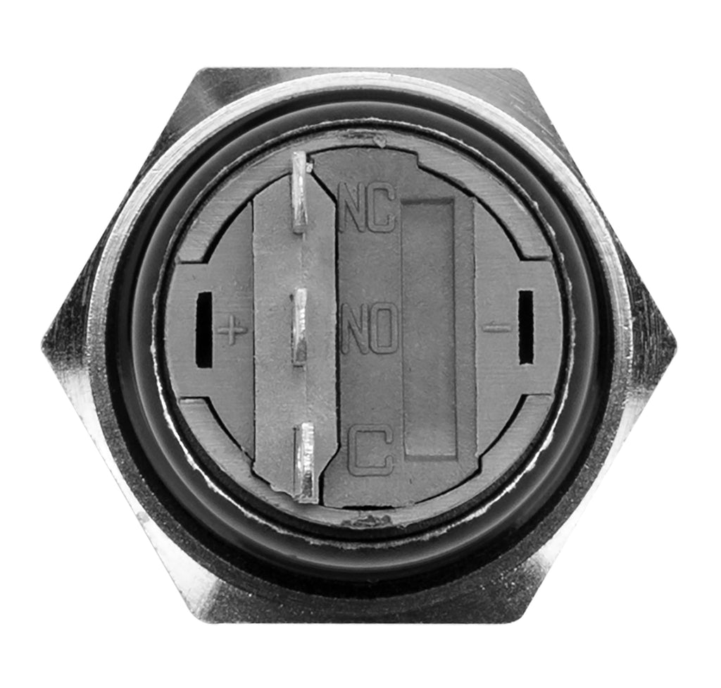 Black Latching Pushbutton Automotive Switch 22mm