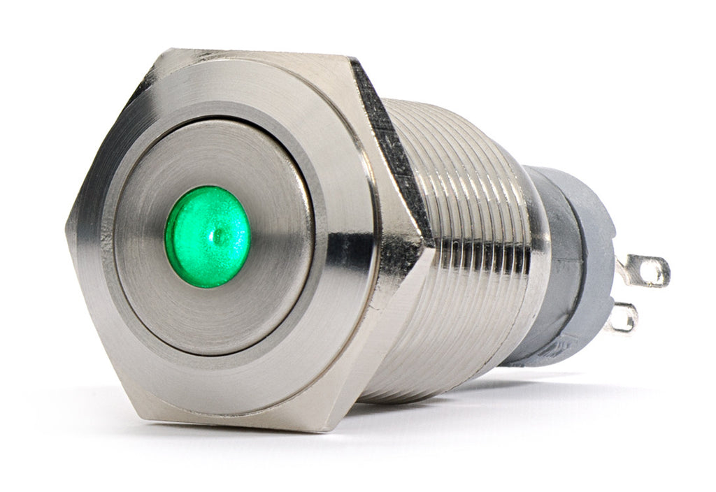 Sliver Stainless Steel Green Dot LED Momentary Switch 18mm
