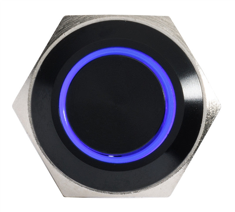 Black Push Button Switch Latching Blue Ring LED 16mm
