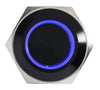 Black Push Button Switch Latching Blue Ring LED 18mm