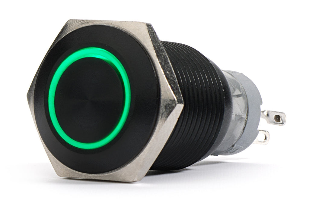 Black Push Button Switch Latching Green Ring LED 18mm