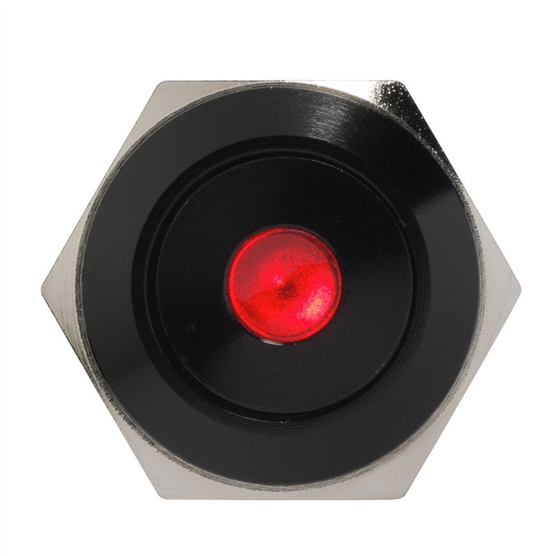 Black Push Button Switch Latching Red Dot LED 18mm