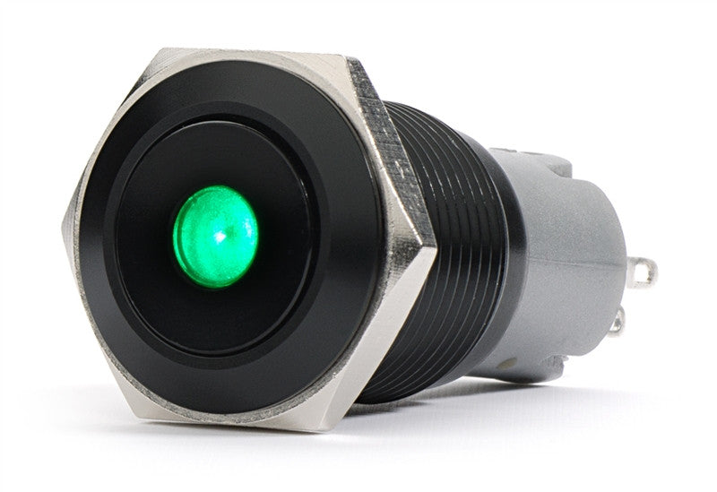 Black Push Button Switch Latching Green Dot LED 16mm