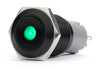 Black Push Button Switch Latching Green Dot LED 18mm