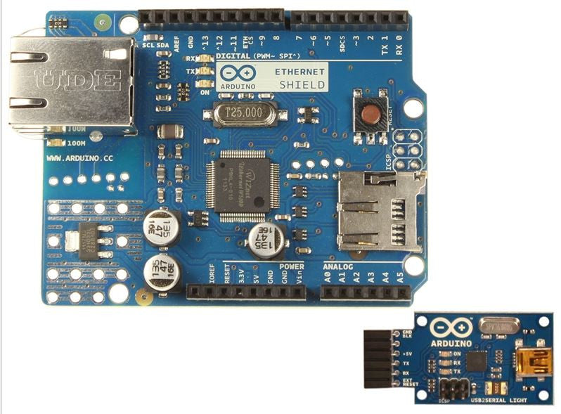 Arduino Ethernet without (PoE) Module + USB-to-Serial Adapter Board