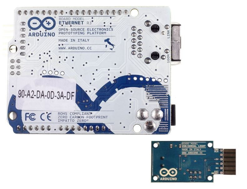 Arduino ethernet with poe module usb to serial adapter