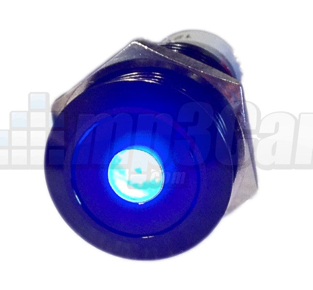 Black Push Button Switch Latching Blue Dot LED 16mm