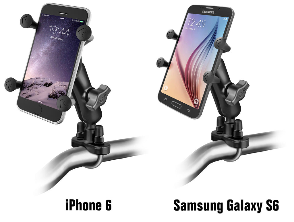 RAM Handlebar Rail Mount with Zinc Coated U-Bolt Base and Universal X-Grip® Cell/iPhone Holder