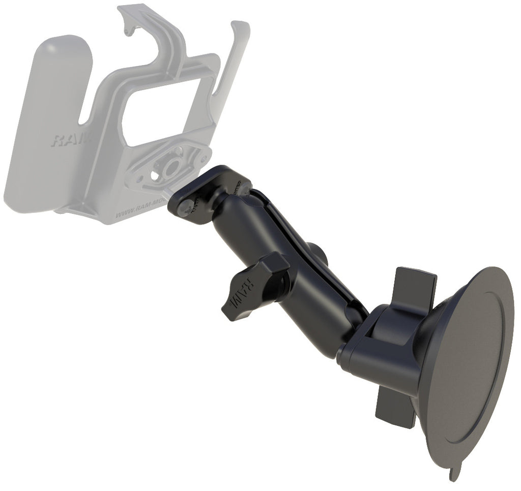 RAM Twist Lock Suction Cup with Double Socket Arm and Diamond Base Adapter; Overall Length: 6.75""