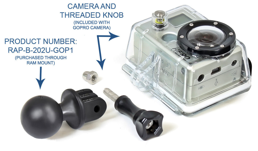 "RAM 1"" Ball with Custom GoPro® Hero Adapter RAP-B-202U-GOP1"