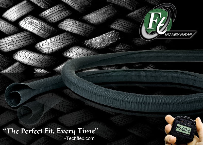 "TechFlex F6 Woven Wrap 3/8"" 25' Wiring Split Wire Covering F6W0.38BK"