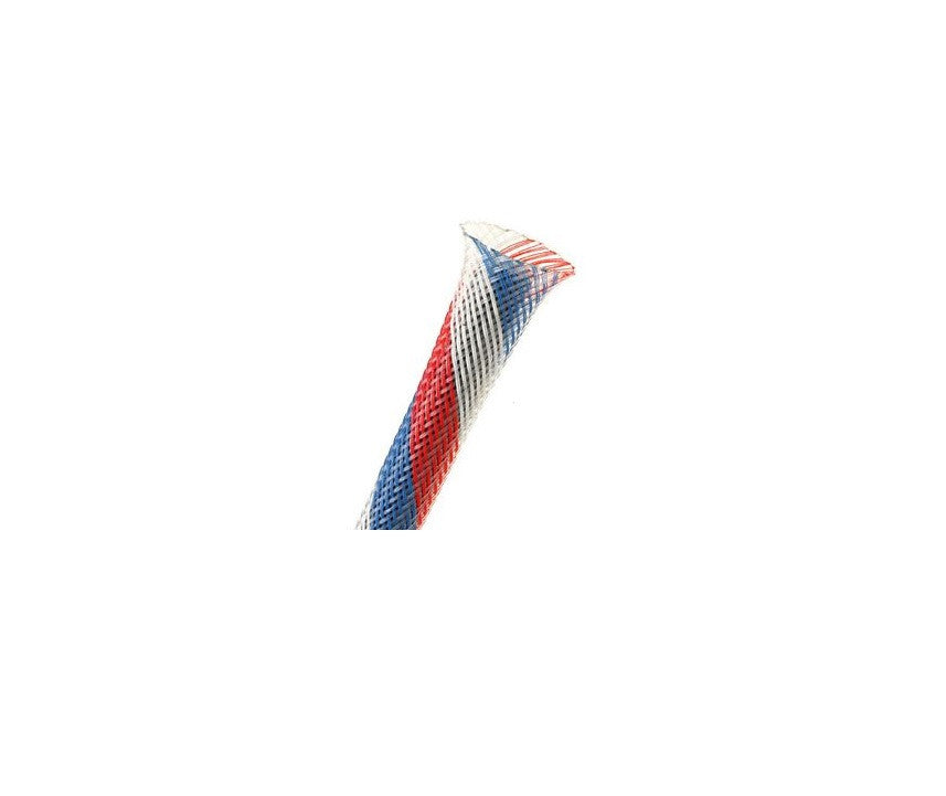 "Techflex PTN0.25PT25 Flexo PET 1/4"" Braided Cable Sleeve Patriot Colors 25 Feet"