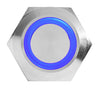 Silver Metal Stainless Steel Blue LED Illuminated Momentary Button Switch 22mm