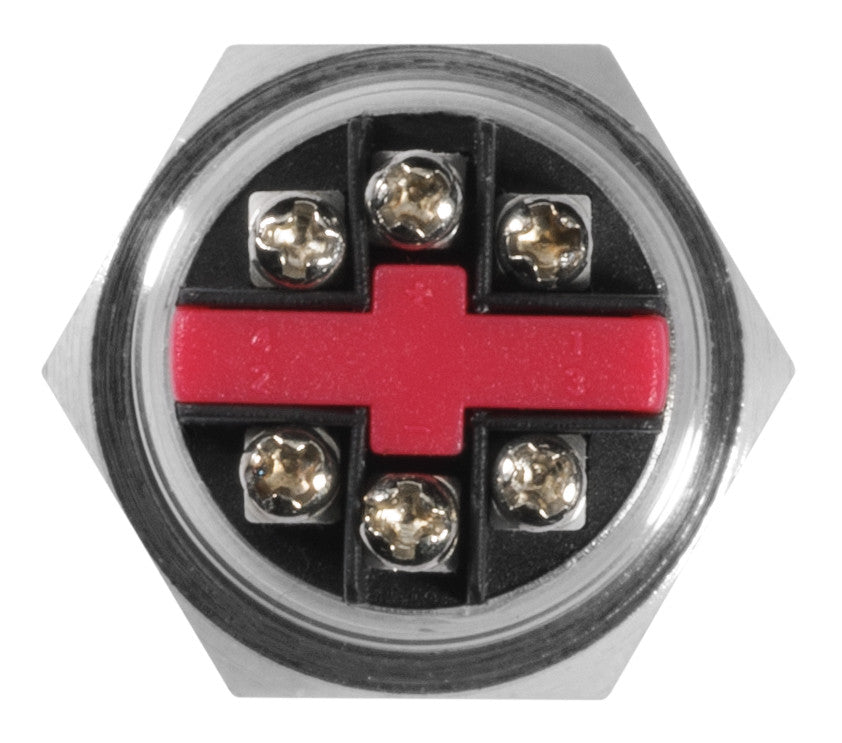 Silver Metal Stainless Steel Red LED Illuminated Momentary Button Switch 22mm