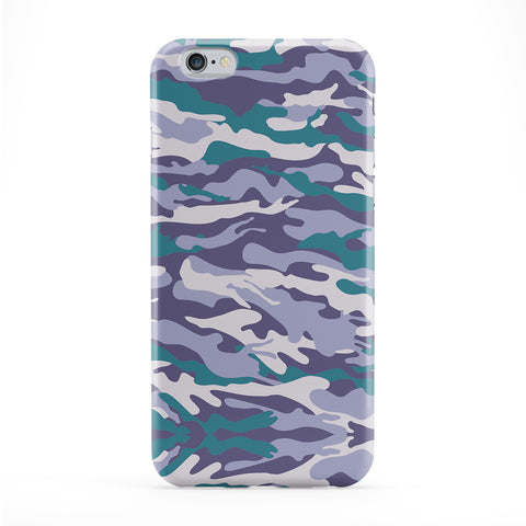 Blue Green Camo Pattern Full Wrap Protective Phone Case by BYMBOW