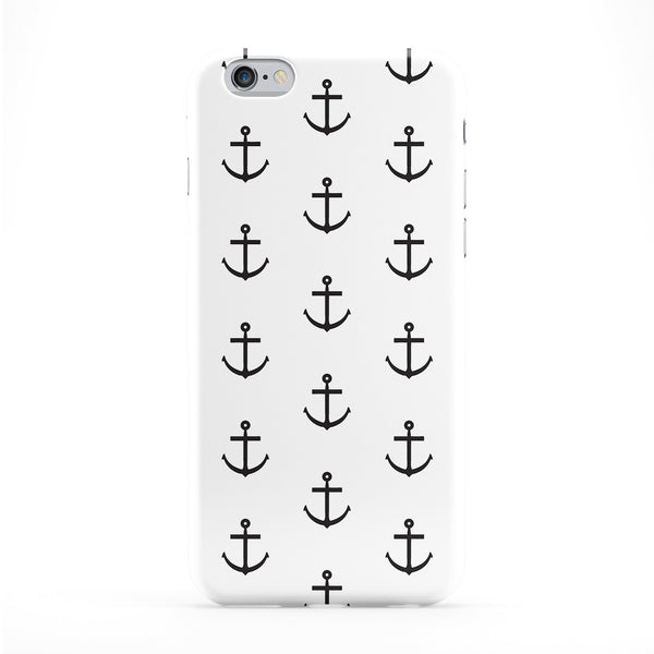 Black White Anchor Print Full Wrap Protective Phone Case by BYMBOW