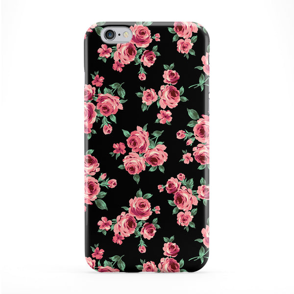 Black Pink Roses Full Wrap Protective Phone Case by BYMBOW