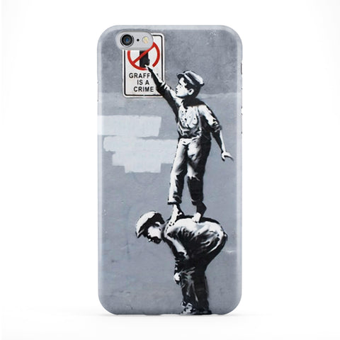Graffiti is Crime Full Wrap Protective Phone Case by Banksy