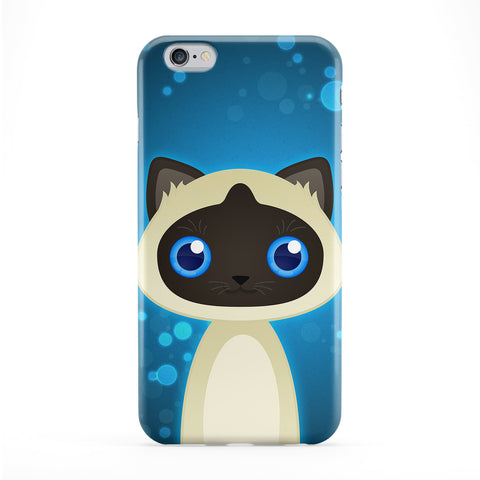 Cute Siamese Cat Full Wrap Protective Phone Case by DevilleArt