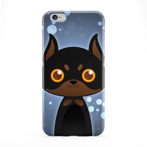 Cute Doberman Dog Full Wrap Protective Phone Case by DevilleArt