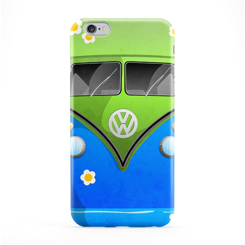 Campervan Flowers Full Wrap Protective Phone Case by DevilleArt